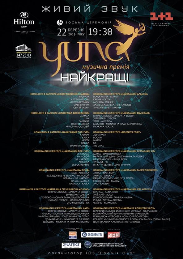 Билеты Головна музична церемонія «Премія YUNA»