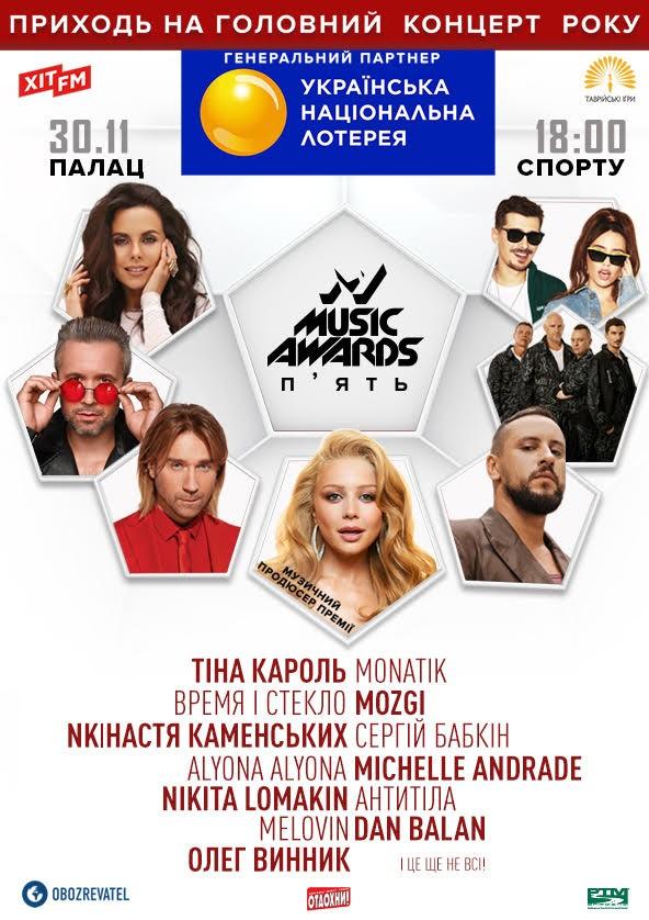 Билеты M1 Music Awards. Пять